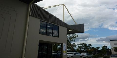 Cantilevered roof at the front of this state of the art industrial building in Carole Park Ipswich