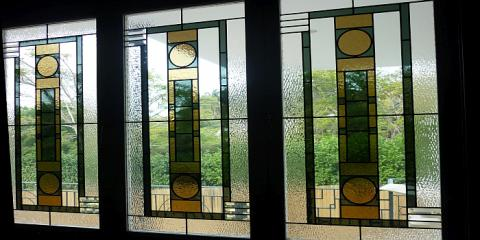 Art Deco style lead light windows in Hamilton Brisbane by building designer Design 2B