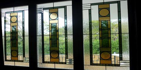 Art Deco style lead light windows in Hamilton Brisbane by building designer Design 2B