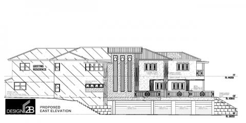 Elevations, Plans of Art deco home Hamilton Brisbane by building designer Design 2B