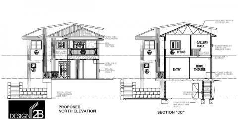 Elevations, Plans of Art deco home Hamilton Brisbane by building designer Design 2B